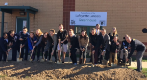 LHS Greenhouse Ground Breaking Event with Students and Officials